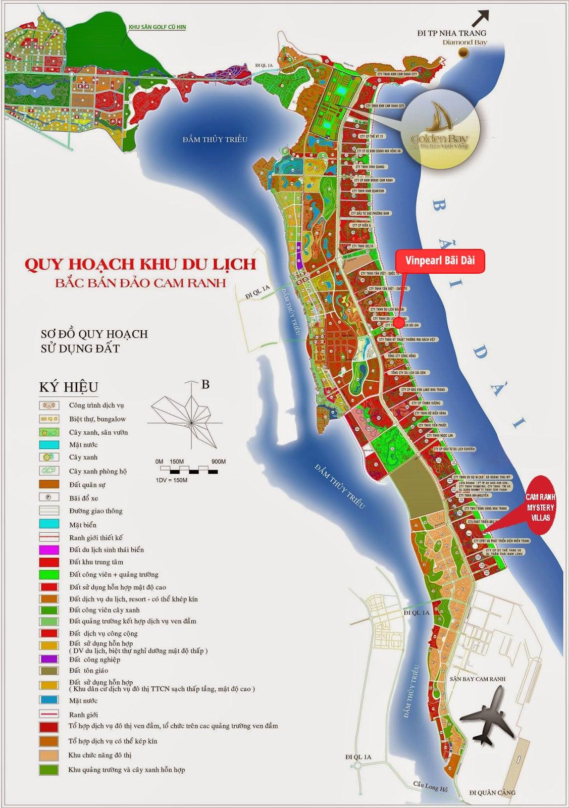 Bản đồ quy hoạch khu du lịch quốc tế bắc bán đảo Cam Ranh