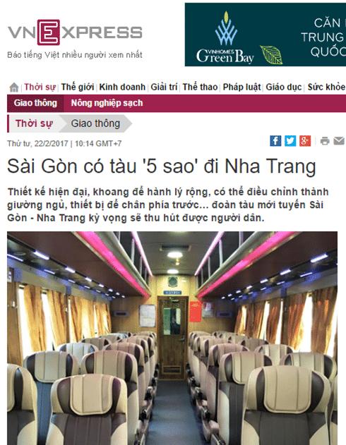 Tuyến đường sắt 5 sao Sài Gòn - Nha Trang