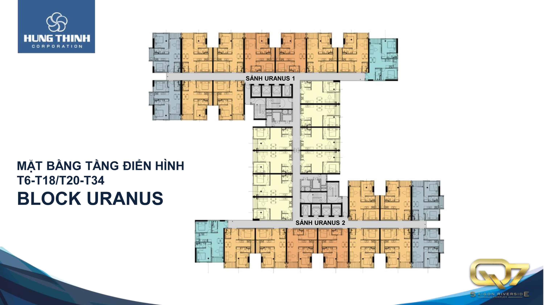 Mặt bằng Block Uranus căn hộ q7 saigon Riverside