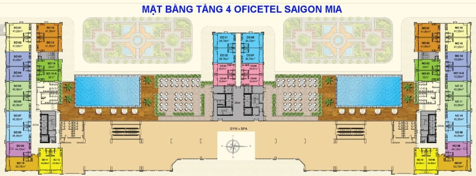 Mặt bằng Officetel dự án Saigon Mia tầng 4