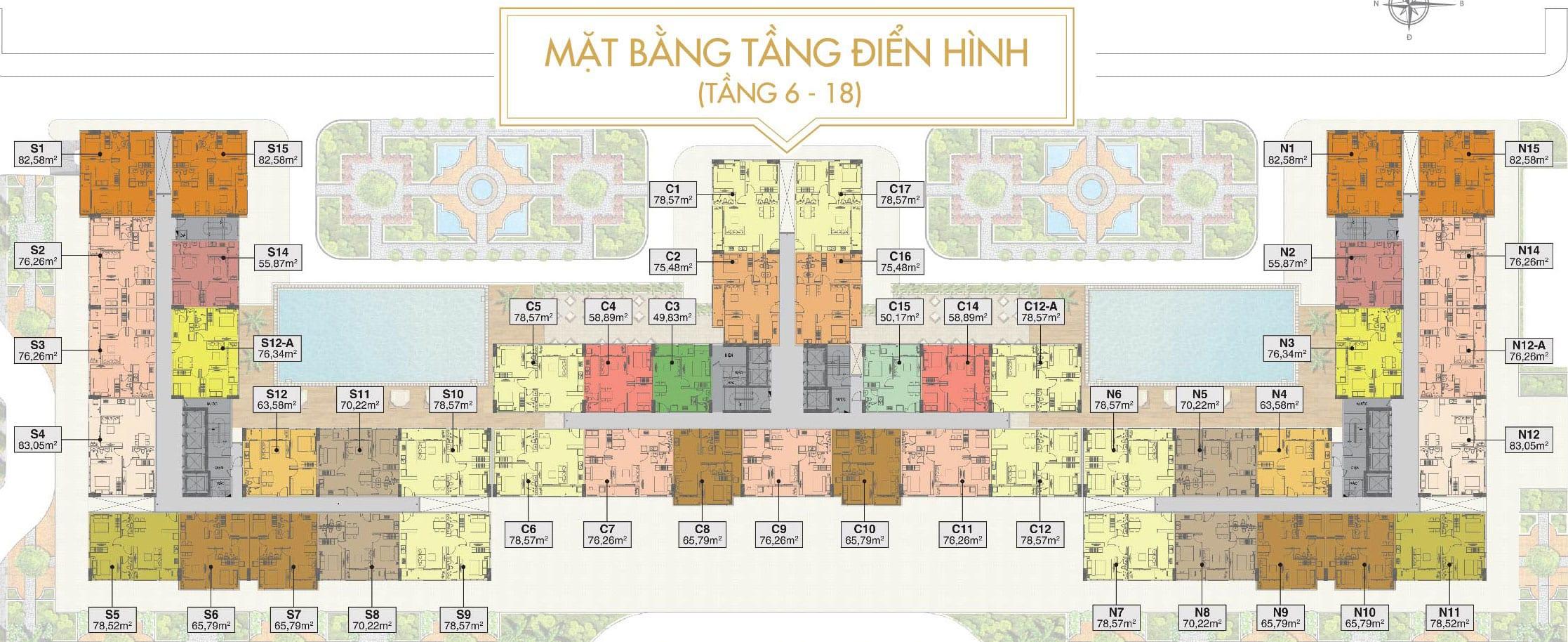 Mặt bằng căn hộ điển hình tầng 6-18dự án Saigon Mia