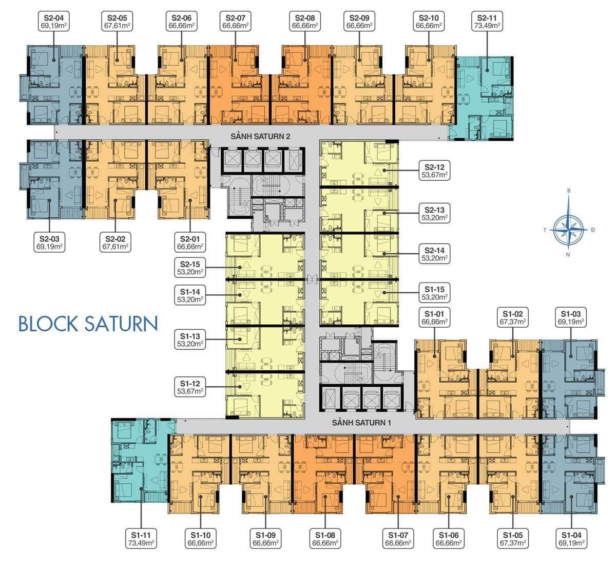 Mặt bằng Block Saturn dự án Q7 Saigon Riverside Complex