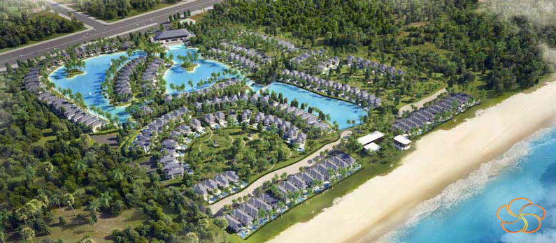 Tổng thể mặt bằng kiến trúc quần thể biệt thự Mystery Villas Bãi Dài Cam Ranh nhìn từ trên cao sở hữu 2 mặt tiền Nguyễn Tất Thành và mặt tiền hướng Biển