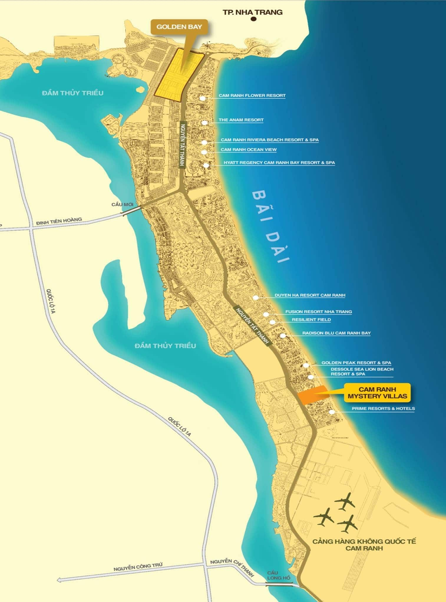 Cam Ranh Mystery Villas sở hữu vị trí rất đẹp tại bãi dài Cam Ranh - Khu Du Lịch Quốc Tế Bắc Bán Đảo Cam Ranh