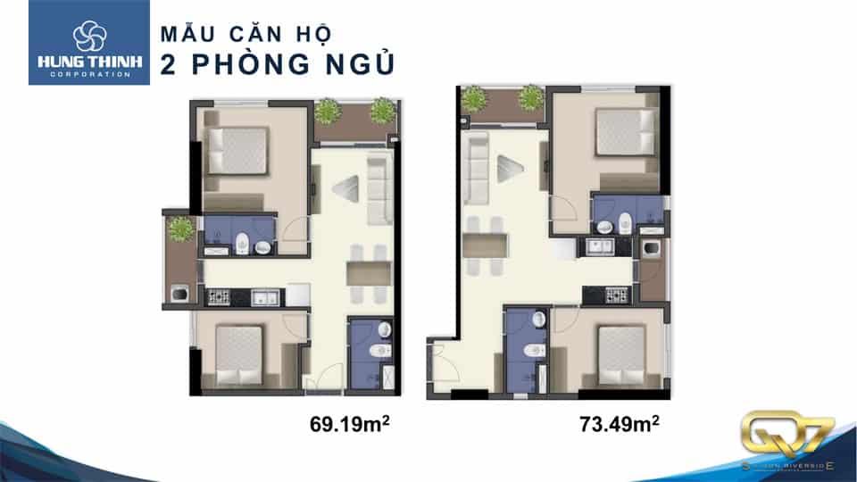 Mẫu căn hộ Q7 saigon riverside 2 phòng ngủ