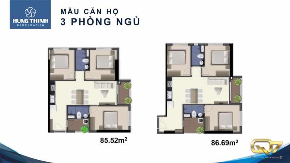 Mẫu căn hộ Q7 saigon riverside 3 phòng ngủ