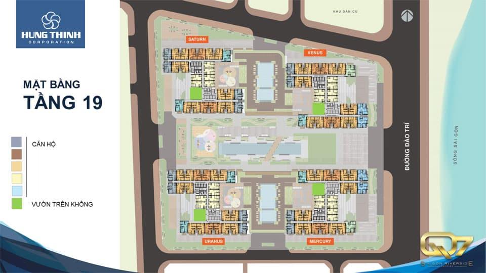 Mặt bằng tầng 19 căn hộ q7 Saigon Riverside