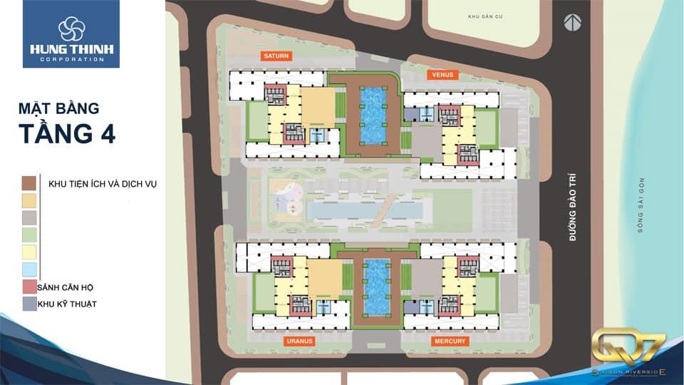 Mặt bằng tầng 4 căn hộ q7 Saigon Riverside