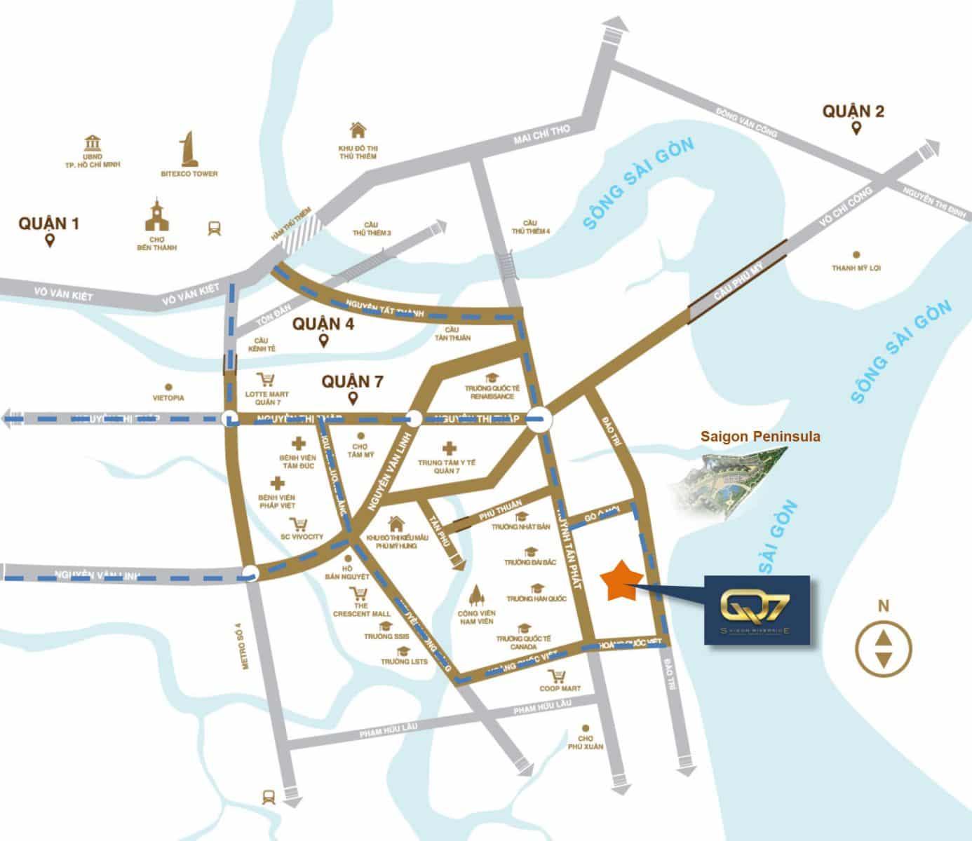 vị trí nội khu Q7 Saigon Riverside quận 7