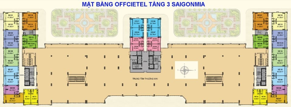 Mặt bằng Officetel dự án Saigon Mia tầng 3