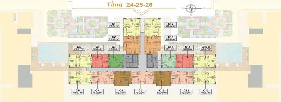 Mặt bằngdự án Saigon Mia tầng 24-26