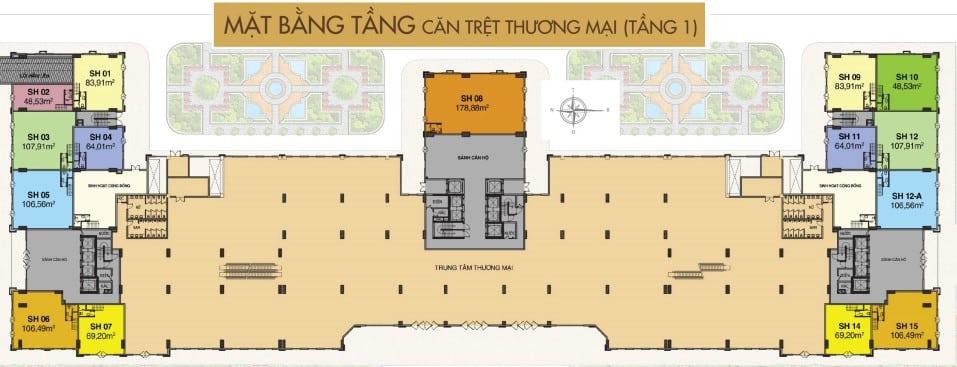 Mặt bằng Shophouse dự án Saigon Mia tầng 1