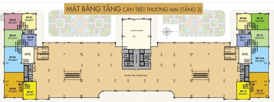 Mặt bằng Shophouse dự án Saigon Mia tầng 2